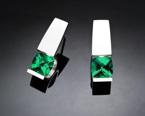green topaz earrings, Argentium silver, Christmas earrings, modern jewelry design, green earrings, tension set, eco-friendly, for her - 2431