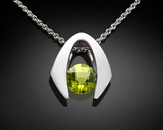 Peridot Necklace, August Birthstone, Peridot pendant, Argentium Silver, modern jewelry, Eco-Friendly, Green Pendant, tension set - 3425