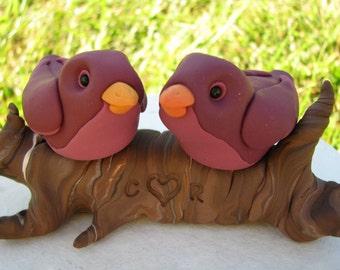 Love Birds on a branch custom wedding cake topper