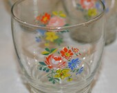 Vintage Set of 6 Footed Small Floral Gold Rimmed Glasses Shot Cups