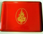 Vintage Red Gold Christmas Tree Tray Home Decor Otagigi Japan Design Gibson Greeting Cards Inc
