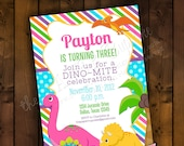 Printable Invitation Design - Dino-mite Sweet Girly Dinosaur Collection - DIY Printables by The Paper Cupcake