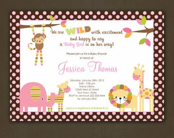 Jungle Animals Polka Dots Baby Shower Invitation Printable File