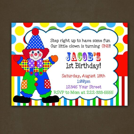 Items similar to Clown Circus Birthday Party Invitation Printable – Clown Birthday Cards
