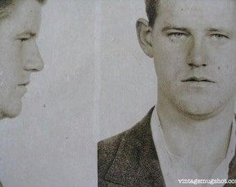 1941 San Francisco  Police Department Criminal MUG SHOT 25 Year old Man With Wavy Hair