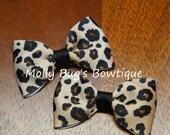 """Cheetah print 2.5"""" pig tail bows READY TO SHIP"""