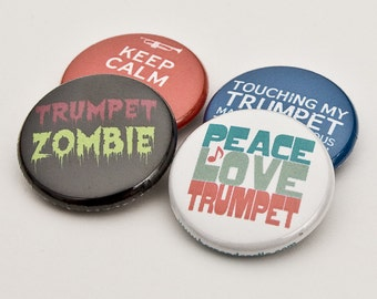 Trumpet Zombie plus three Marching Band and Music Buttons or Magnets - TPT 3