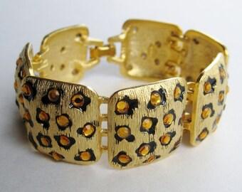 Vintage GemCraft Exotic Gold Panel Leopard Rhinestone Link Bracelet