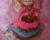 angel wall hanging mod mid century vintage christmas paper mache made in japan 8 inches kesco