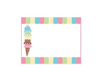 50% Off Sale! - PRINTABLE Pastel ice Cream Party Fancy Labels - INSTANT DOWNLOAD