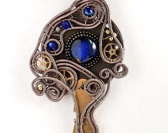 OOAK Steampunk cobalt blue eye wire wrapped pendant