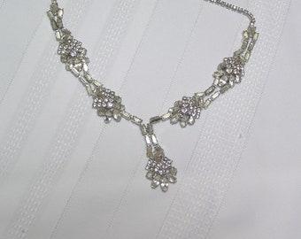 Vintage Rhinestone Cluster...Bridal...Elegant...Necklace