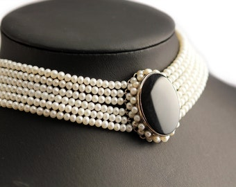 Six Strand Pearl Choker Necklace, sweet water cultured pearl,  romantic feeling