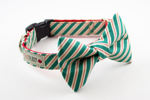 LAST ONE - Green Peppermint Stripes Holiday Dog Bowtie Collar
