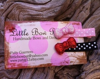 Glittery Red and Pink Bow Button Hair Clip Set