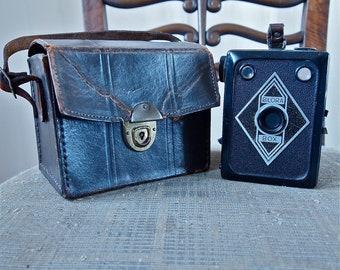 Czech Camera Rare Bilora Box Medium Format 6 x 9 1930's Art Deco Collectible Antique with Leather Case