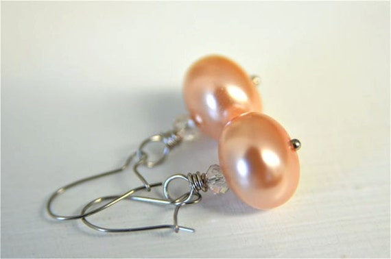 Peach Pearl Earrings with Light Orange Glass Pearls and Crystal . Handmade in Maine from North Atlantic Art Studio