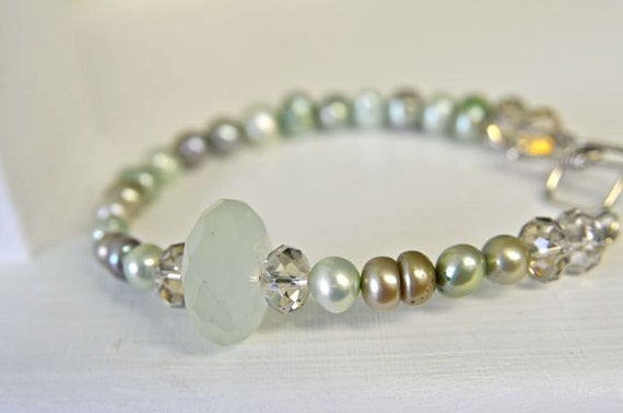 Pale Sea Foam Green Natural Chalcedony Bracelet with Dark and Light Green Freshwater Pearls and Swarovski Crystals