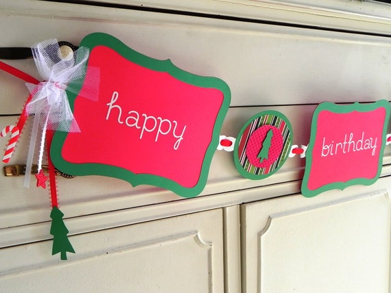 Happy Birthday Santa Clause--Personalized Christmas Themed Birthday Banner---Customization of Colors Available