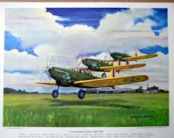 1935 Consolidated P30A Machine Gun Fighter Plane Early Aviation Aircraft