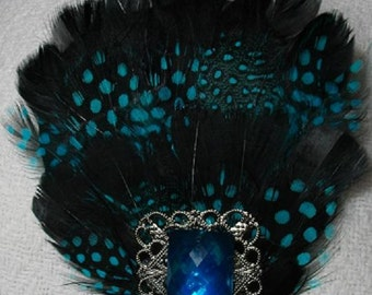 Turquoise and Black Feather Fascinator with Filigree and Turquoise Flatback - Choose headband, barrette, comb or clip