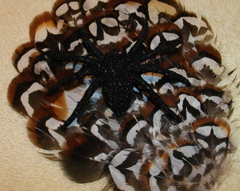 Brown, Black and White Pheasant Feather and Spider Halloween Fascinator - Choose headband, barrette, comb or clip