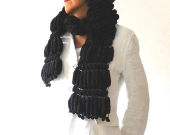 Hand knit scarf, black scarf with pompom, women accessories
