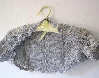 Grey Shrug , Knit Bolero , Wedding Sweater