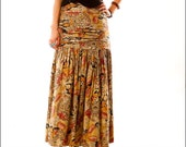 Gypsy Girl Abstract Floral Drop Waist Skirt--M