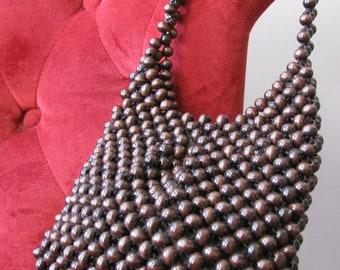 Vintage Brown Wooden Bead Shoulder Bag Purse by Walborg