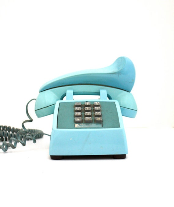 Vintage TIFFANY Blue Bell System Push Button Phone with Shoulder Rest