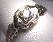 Antique Diamond Wedding Ring White Gold Vintage Deco 6