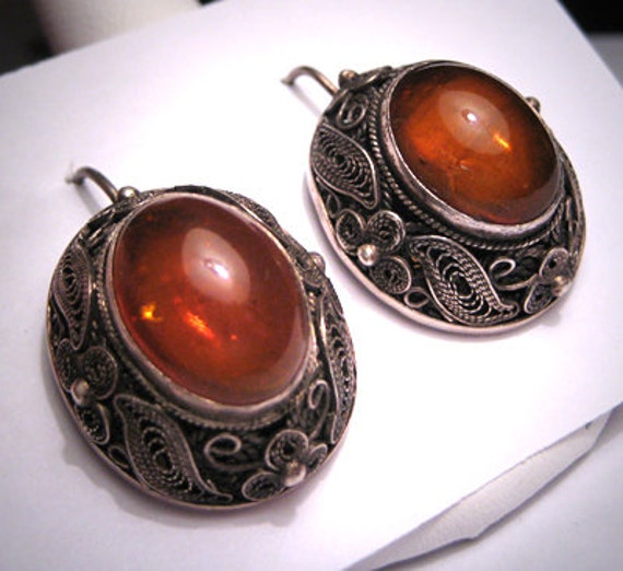 Antique Chinese Amber Earrings Silver Filigree Vintage