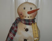 Primitive Let It Snow Snowman Doll