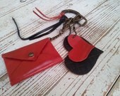 Leather keychain, red leather, leather accessories, handmade, gift for her, Office Gift Idea
