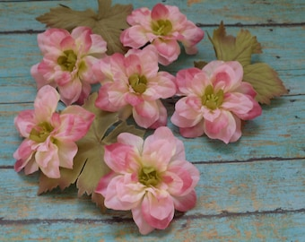 Silk Flowers - SIX Delphinium Blossoms in Shades of Pink - 2.5 Inches - Artificial Flowers