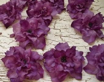 Silk Flowers - 10 Delphinium Blossoms in Shades of PURPLE - ALMOST 2.75 Inches - Artificial Flowers