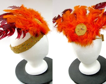 Indian Brave Vintage 50s Costume Feather Headdress - Halloween Play Native American Leather Headband Village People Boho Tribe Chief