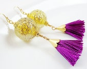 Bohemian Arabesque Earrings with Vintage Style Etched Gold Clear Beads & Purple Violet Tassel