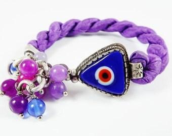 Stackable Turkish Bracelet Navy Blue Evil Eye & Berry Purple Silk - Triangular Artisan Glass Bead, Silver Plated - Christmas