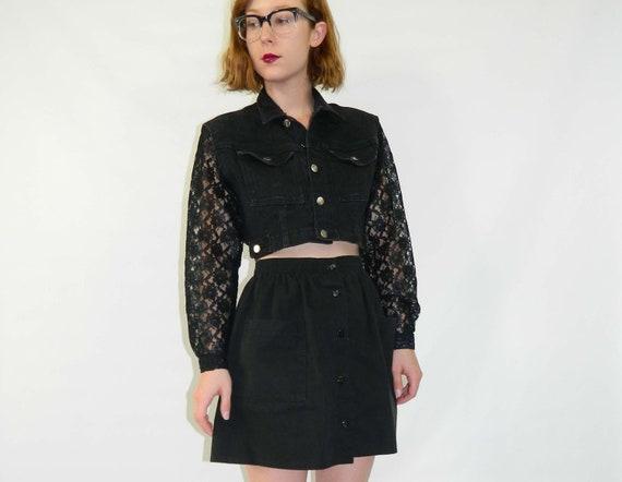Black Denim Jacket Lace Sleeves Cropped Fit Medium