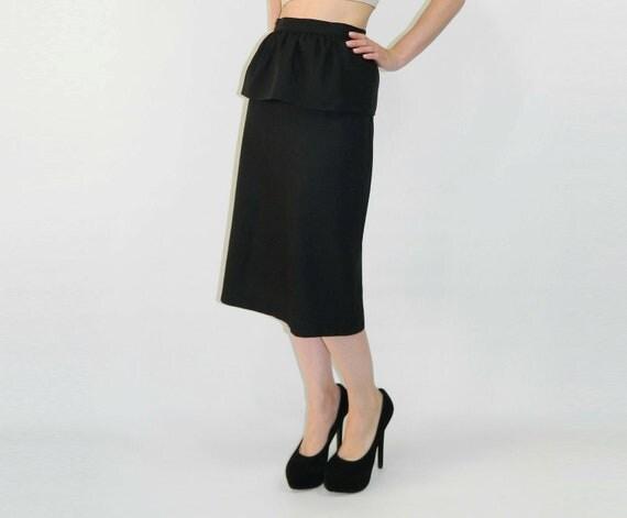 Peplum Skirt Black 1980s Pencil Skirt Small