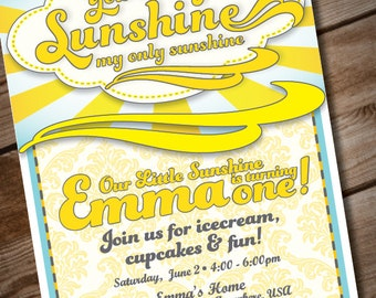 DIY Printable You Are My Sunshine Birthday Invitation Or Baby Shower Invitation