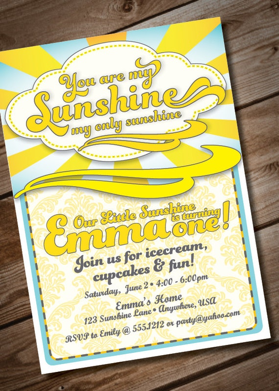 you are my sunshine birthday invitation or baby shower invitation