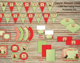 Little Red Riding Hood Party Decorations Accessory Set  - Gwynn Wasson Designs PRINTABLES