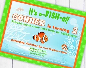 Clown Fish Party Invitation - Under the Sea Party - Gwynn Wasson PRINTABLES