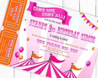 Circus Invitation Carnival Invitation with Tickets  Big Top Party -  Orange and Pink Collection - Gwynn Wasson Designs PRINTABLES