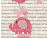 Baby girl, Nursery wall art print, Baby room decor, pink elephant, pale pink, cream, gray