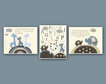 Baby art, Nursery wall art print, Baby boy room, set of 3 8x10 match the colors of Bradley, kids room art, blue cream brown, giraffe, lion