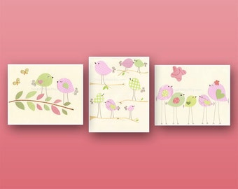 Baby girl, Nursery wall art print, Baby room decor, love birds, set of 3 8x10, match to the colors of Penelope bedding set